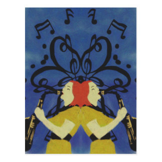 Saxophone Ladies Postcard