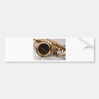Saxophone Music Gold Gloss Notenblatt Keys Bumper Sticker