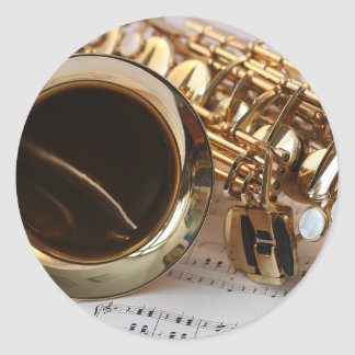 Saxophone Music Gold Gloss Notenblatt Keys Classic Round Sticker