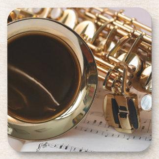 Saxophone Music Gold Gloss Notenblatt Keys Coaster