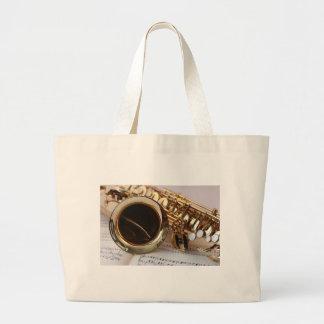 Saxophone Music Gold Gloss Notenblatt Keys Large Tote Bag