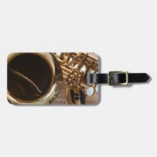 Saxophone Music Gold Gloss Notenblatt Keys Luggage Tag