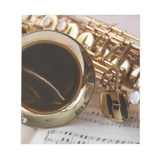 Saxophone Music Gold Gloss Notenblatt Keys Notepad