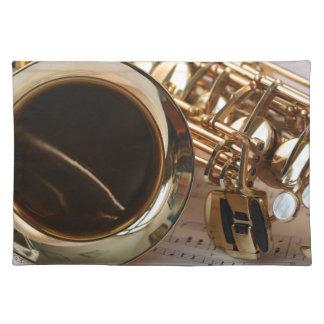 Saxophone Music Gold Gloss Notenblatt Keys Placemat