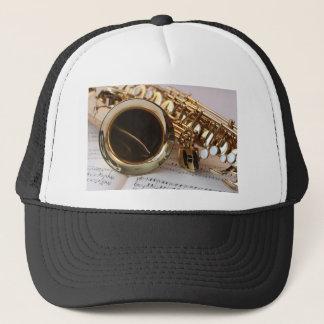 Saxophone Music Gold Gloss Notenblatt Keys Trucker Hat