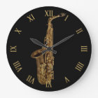 Saxophone Music-Themed Musician's Large Clock