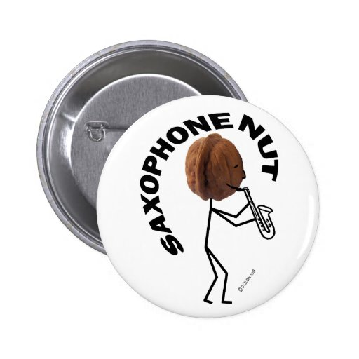 Saxophone Nut Pinback Button