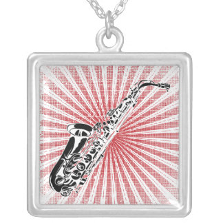 Saxophone on Grunge Red Sunburst Silver Plated Necklace