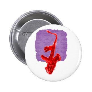 Saxophone painting, red version with red hands 2 inch round button