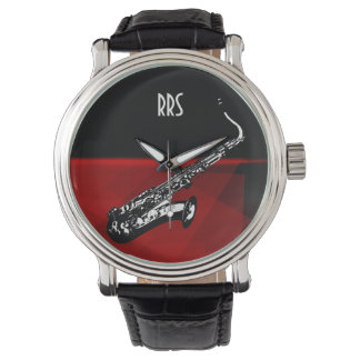 Saxophone Personalized Monogram Gift Watch