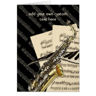 Saxophone & Piano Music Design Personalized Greeting Card