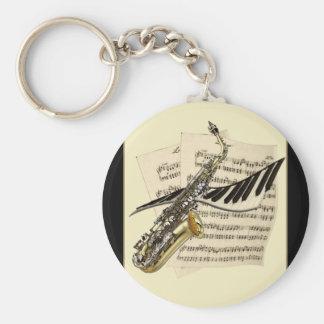 Saxophone & Piano Music Keyring Basic Round Button Keychain