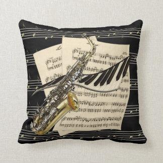 Saxophone & Piano Music Throw Pillow
