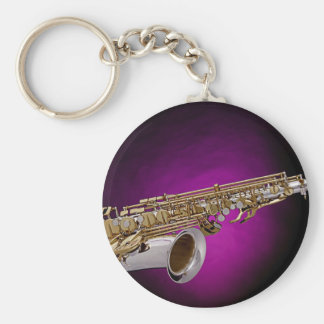Saxophone Picture Pink Background Keychain