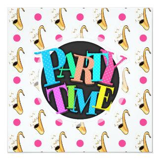 "Saxophone, Pink & White Polka Dots 5.25"" Square Invitation Card"
