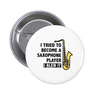 Saxophone Player 2 Inch Round Button