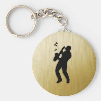 Saxophone Player Basic Round Button Keychain