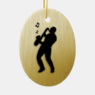 Saxophone Player Ceramic Ornament