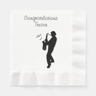 Saxophone Player Custom Congratulations Disposable Napkins