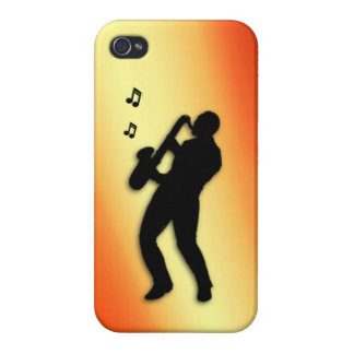 Saxophone Player Orange Flush iPhone 4/4S Cover