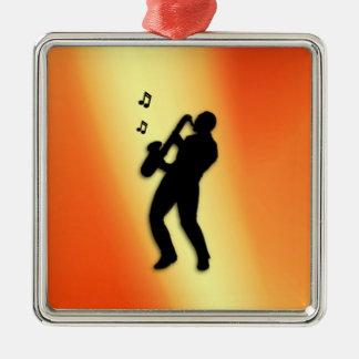Saxophone Player Orange Metal Ornament