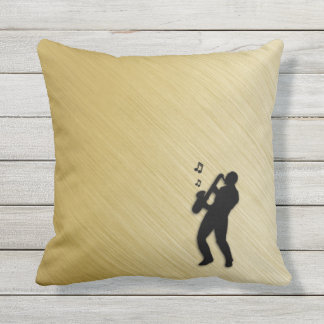 Saxophone Player Outdoor Pillow