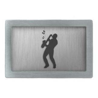Saxophone Player Rectangular Belt Buckles