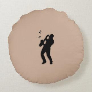 Saxophone Player Round Pillow