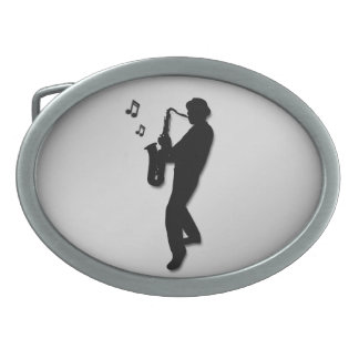 Saxophone Player Silver Belt Buckles