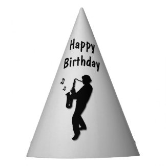 Saxophone Player Silver Birthday Party Party Hat