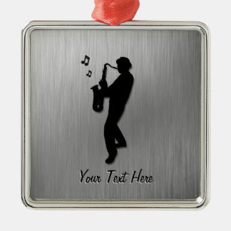 Saxophone Player Silver Metal Ornament