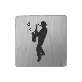 Saxophone Player Silver Stone Magnets