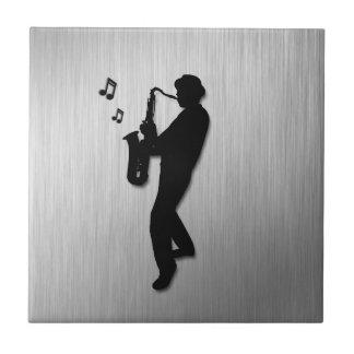 Saxophone Player Silver Tile