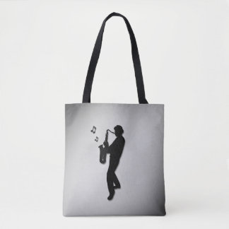 Saxophone Player Silver Tote Bag