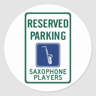 Saxophone Players Parking Classic Round Sticker