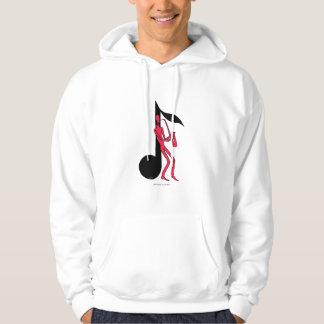 Saxophone playing man pen ink drawing hoodie desi