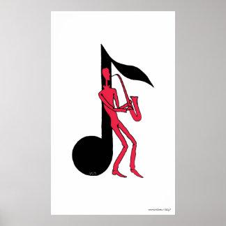 Saxophone playing man pen ink drawing poster
