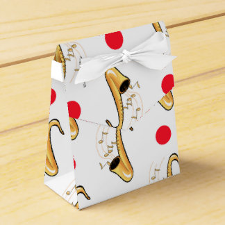 Saxophone, Red & White Polka Dots Wedding Favor Boxes