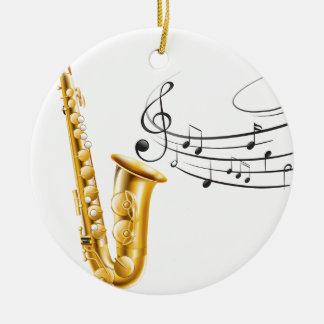 Saxophone Round Ceramic Ornament