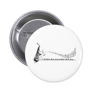 Saxophone ~ Sax Music & Blackbirds 2 Inch Round Button