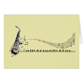 Saxophone ~ Sax Music & Blackbirds Card