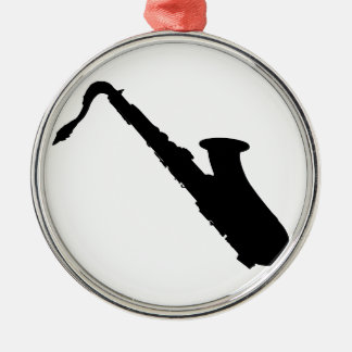 Saxophone Silhouette Silver-Colored Round Ornament