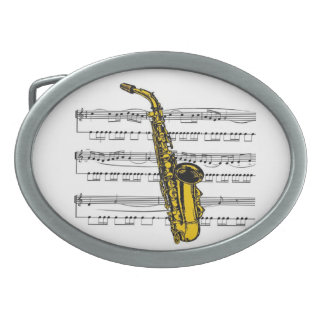 Saxophone w/Sheet Music Background ~ Belt Buckle