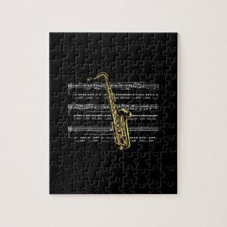 Saxophone w/Sheet Music ~ Black Background Jigsaw Puzzle