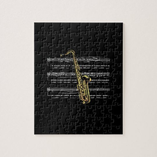 Saxophone w/Sheet Music ~ Black Background Jigsaw Puzzle