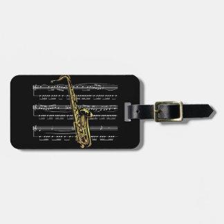 Saxophone w/Sheet Music ~ Black Background Luggage Tag