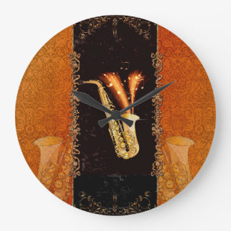 saxophone with floral elements clocks