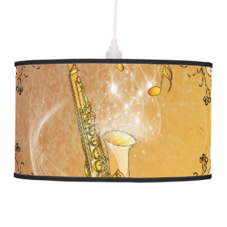 Saxophone with flowers pendant lamp