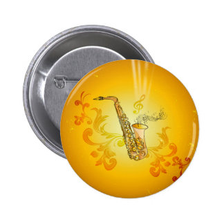 Saxophone with key notes and clef 2 inch round button