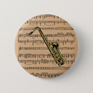 Saxophone ~ With Sheet Music Background 2 Inch Round Button